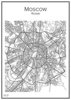 Handritad stadskarta över Moskva i Ryssland. Här kan du beställa stadskarta över din stad och andra svenska samt utländska städer.