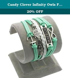 Candy Clover Infinity Owls Friendship Anchor Pendant 4 in 1 Handmade Bracelet Mint Green Bracelet. *Bracelet length:16+5cm (Extend chain), 6.3 inches+ 1.96 inches,(It fits 6.3-8.0inches wrist size) *Pendant colour: antiqued silver *Material: alloy,wax rope *High quality *Package included:1 bracelet .