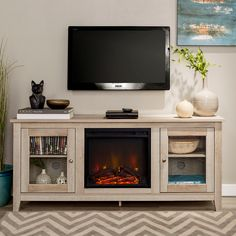 Swivel Tv Stand, Tv Stand Console, Tv Stand With Glass Doors, Electric Fireplace Tv Stand, Tv Stand With Fireplace, Entertainment Stand With Fireplace, Tv Stand Decor, Tv Cabinet Design, Driftwood Furniture