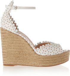 $381, Tabitha Simmons Harp Perforated Leather Espadrille Wedge Sandals. Sold by NET-A-PORTER.COM. Click for more info: https://lookastic.com/women/shop_items/230043/redirect