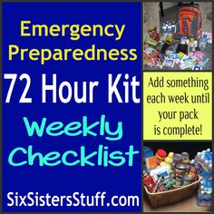 72-Hour emergency preparedness kits. Add one item each week of the year, and continue to replace that item if needed each year. Hopefully we won't ever need to use these kits, but it's better safe than sorry.