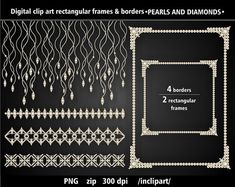 Set of pearl and diamond frames and borders clip art. by inclipart