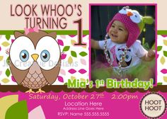 Look Whoos Turning one invitation - OWL Theme - Birthday Party Invite - 1st Birthday Girl Owl Invite - photo pictures 1 year
