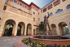 USC's Cinematic Arts Complex- George Lucas Building interior courtyard with Douglas Fairbanks Statue