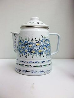 White Enamelware Coffee Pot Hand Painted by FolkArtByNancy on Etsy