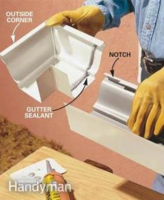 Create stronger, better-looking gutters by modifying standard gutter systems. assemble strong, sleek-looking seams; and add roof flashing to keep water flowing into the gutters where it belongs. House Gutters, Diy Gutters, Home Improvement Projects, Home Projects, Backyard Projects, Seamless Gutters, Roof Flashing, How To Install Gutters, Home Fix
