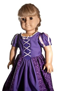 Rapunzel Tangled Dress for American Girl Doll or 18 inch Doll