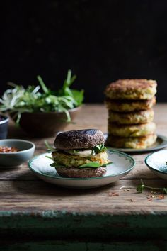 halloumi burgers with portobello mushrooms, caramelized red onions & mango sauce