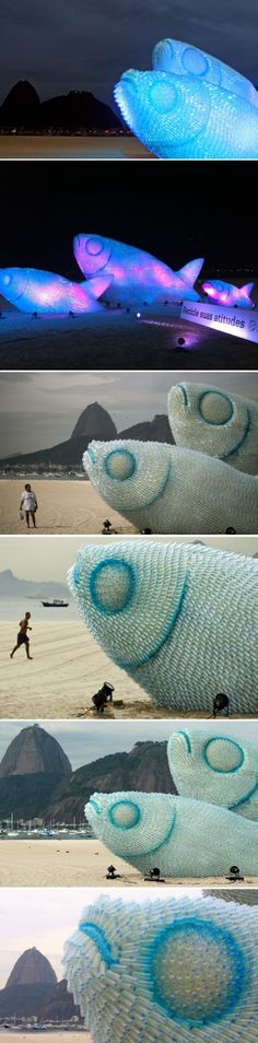 ~The Art of Rio: Giant Fish Sculptures Made from Discarded Plastic Bottles in Rioby Christopher Jobson on June 21, 2012, Rio | The House of Beccaria