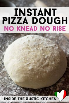 Instant Pizza Dough – No Knead No Rise A thin and crispy instant pizza dough recipe that has no yeast and requires zero rising time – oh yes that's right. Make this super easy pizza dough in around 5 minutes for perfect pizzas in a hurry. No Rise Pizza Dough, No Yeast Pizza Dough, Best Pizza Dough, Pizza Dough Recipe Quick, Quick Pizza, Good Pizza, Pizza Pizza, Sauce Pizza, Super Rapido