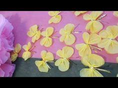 kimie gangiの 春の壁面掲示「お花紙で作る大きな桜」Sakura Paper flower tutorial - YouTube