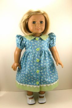 18 Inch Doll Clothes American Girl Casual Dress Blue Green White Rose Print with Checks girls toy. $20.00, via Etsy.