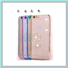 Worth *14* Cool Points!  iPhone 6 Plus, 6 - Delicate Etching & Rhinestones on Clear Case with Colored Border in Assorted Colors  Item 1373  - Specialty: Clear case with gold imprint & sides show off your case to the max  Features:  Bran