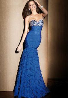 Luxurious Chiffon Sweetheart Mermaid With Ruffles Empire Prom Dresses - Lunadress.co.uk