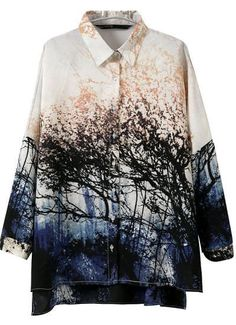 To find out about the White Lapel Long Sleeve Landscape Print Blouse at SHEIN, part of our latest Blouses ready to shop online today! Fashion Prints, New Fashion, Spring Fashion, Womens Fashion, Ladies Fashion, Print Chiffon, Chiffon Shirt, Chiffon Tops, Chiffon Blouses