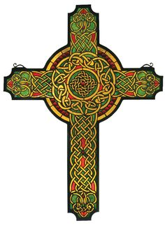 25 Inch W X 34 Inch H Jeweled Celtic Cross Stained Glass Window. 25 Inch W X 34 Inch H Jeweled Celtic Cross Stained Glass WindowScarlet jewels circle a handsome Celtic cross ofCarnelian Red, Moss Green and Honey interlacedknotwork. Handcrafted utilizing the copper foil construction process and 790 pieces of stained art glass encased in a solid brass frame. Mounting bracketand jack chain included. Theme:  ARTS & CRAFTS ART GLASS Religious Product Family:  Jeweled Celtic Cross Product Type…