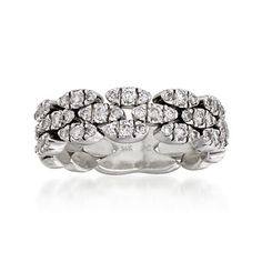 C. 1990 Vintage .90 ct. t.w. Pave Diamond Ring in 14kt White Gold. Size 7 | #812067 @ ross-simons.com
