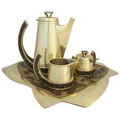 Salvador Teran Brass & Glass Mosaic Tea Set