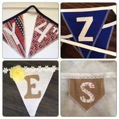 Fabric bunting flags. Shown here in cotton and burlap fabrics and home plate and triangle shapes. These are just a few option at www.etsy.com/shop/GramsCozyCorner where your ideas become custom designs