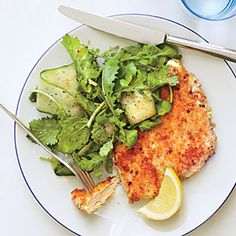 Parmesan Chicken with Arugula Salad and Tomato Vinaigrette ~ Quick, easy so good.  Great vinaigrette recipe for salads or veggies, its a keeper!