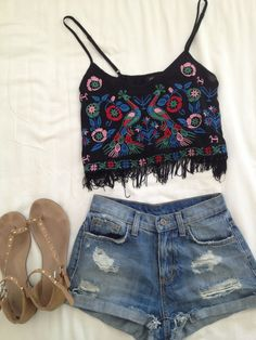 Fringe embroidered top