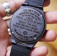 Son dad - enjoy the ride 2 - wood watch Love Gifts, Gifts For Him, Great Gifts, Diy Gifts, Creative Gifts, Watch Engraving, Laser Engraving, Dad Son, Mom And Dad
