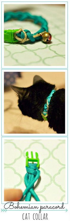 Bohemian paracord cat collar | A fun and different way to use up paracord that doesn't involve square knots! Super easy and quick to make :)