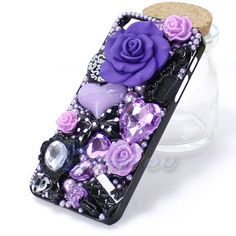 Hot Sale New Arrival Fashion Anna Su Luxury Rhinestone 3D Flowers Back Case Cover For iPhone 5 5G Free Shipping iPhone Covers Online