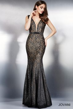 Jovani - 36447 | Mother of the Bride & Special Occasion at Jaehee Bridal Atelier  #fitandflare #plunging #vneck #sleeveless #lace #cocktail #evening #eveninggown #cocktaildress #specialoccasion