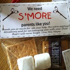 Cool thank you gift for volunteer parents. Can do as marshmallow pops dipped in chocolate and graham cracker crumbs too