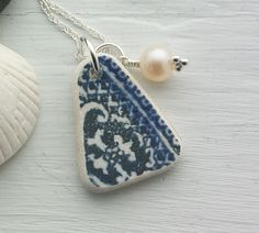Scottish Beach Pottery and Fresh Water Pearl Sterling Silver Necklace £16.50