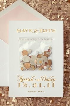 Confetti save the date for a New Year's Eve wedding How to Throw a Sparkling New Year's Eve Wedding  https://www.toovia.com/lists/how-to-throw-a-sparkling-new-year-s-eve-wedding