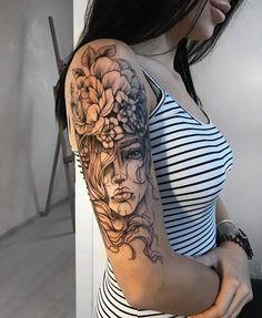 Tattoos, Tattoos On Arm, Female Tattoo, Tattoo Dope Tattoos, Girly Tattoos, Flower Tattoos, Body Art Tattoos, Tattoos For Guys, Tatoos, Girly Sleeve Tattoo, Arm Sleeve Tattoos For Women, Tattoos Pics