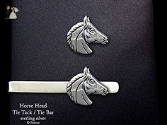 Horse Head Tie Tack or Horse Head Tie Bar in Solid Sterling Silver Hand Carved & Cast by Paxton - Groom cufflinks and tie clips (*Amazon Partner-Link)