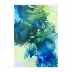 A personal favorite from my Etsy shop https://www.etsy.com/listing/605994541/blue-green-and-gold-abstract-alcohol-ink