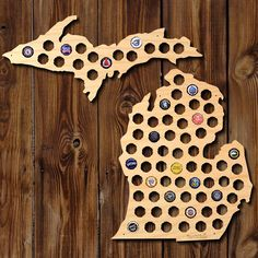 The absolute best gift for any adventurous beer lover, our Michigan beer cap map is exactly what you need to show off all of your local or out of state brewery caps. Laser cut on location in our Oklah
