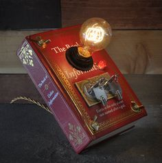 "We don't always use bottles, but we do always recycle. Check out this ""Book Of Useless Information."" How dare they. Why it's a perfectly good desk lamp, now."