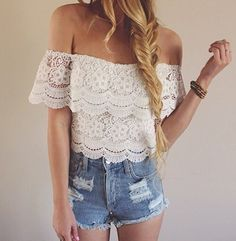 Sexy Summer Women's Lace Crochet Tops Off Shoulder T-Shirt Casual Blouse