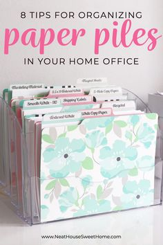 Paper clutter following you everywhere? Wondering how to deal with paper piles at home? Here are 8 tips for organizing paper. #paperorganization #paperclutter #officeorganization #neathousesweethome