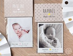 Faire-part : magnets Photo Polaroid, Baby Wedding, Baby Invitations, Announcement Cards, Christmas Deco, Paper Design, Future Baby, Wedding Stationery, Baby Photos