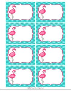 Do it yourself - Pink Flamingo Printable Buffet Labels or Notecards. Eight cards per sheet (approx x each) High quality PDF and JPGSee 4 Best Images of Free Printable Pink Flamingo. Pink Flamingo Party, Flamingo Birthday, Pink Flamingos, Printable Labels, Party Printables, Free Printables, Hawaian Party, School Labels, Tropical Party