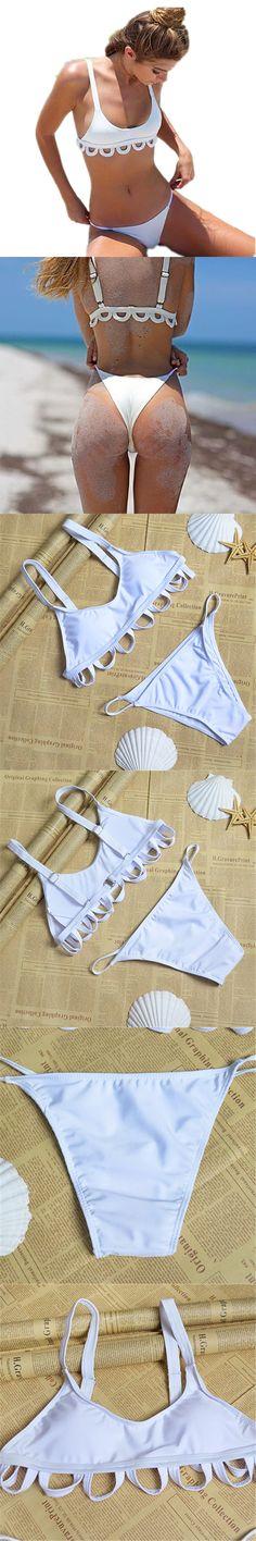 Micro White Brazilian Bikini Set 2016 Women Swimwear Funny Swimsuits Sexy Thong Bathing Suits Cute Push Up Maillot De Bain S-XL $21.98