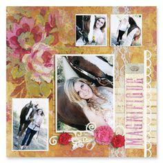 Floral Magnifique Scrapbook Page, large