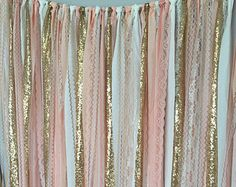 Pink & Gold Sparkle Sequin Fabric Backdrop with Lace Wedding