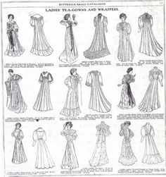 1907 Butterick fashion plate of tea gowns