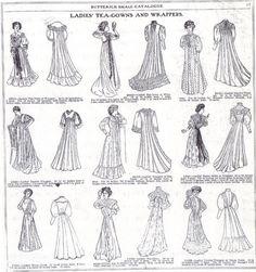 1907 - Ladies tea gown patterns from Catalogue des Modes 1900s Fashion, 19th Century Fashion, Edwardian Fashion, Vintage Fashion, French Fashion, Edwardian Era, Cubism Fashion, Art Deco Fashion, Fashion Goth