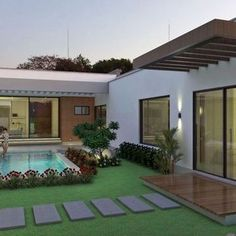 The Good, the Bad and Dream House Architecture If your home lacks an impressive appearance, it's time to make it best by installing a metallic ceiling so that you are able to fulfill your expect interior looks. Dream House Exterior, Dream House Plans, Modern House Plans, Modern House Design, Dream Houses, Modern Houses, Village House Design, Village Houses, Backyard Pool Designs