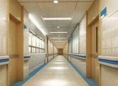 Hospital corridor ceiling design rendering