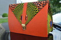Tissu imprimé africain et pochette en cuir sac à par AnkaraNimi