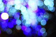 Blue, white, light green night bokeh - Abstract